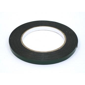 Скотч двусторонний черный вспененный с зеленой защитной лентой толщина 0,5мм ширина 8мм 10м