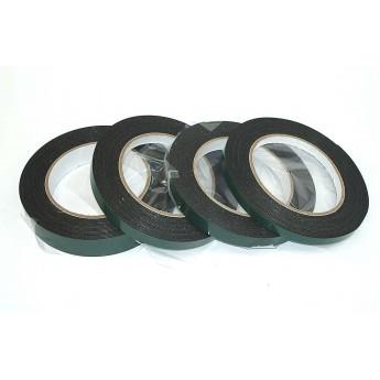 Скотч двусторонний черный вспененный с зеленой защитной лентой толщина 1мм ширина 10мм 5м
