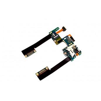 Шлейф HTC Butterfly S 901S с разъемом карты памяти и сим карты микрофоном (Original)