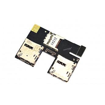 Шлейф HTC Desire 300 Dual сим коннектором SIM/SD (Original)
