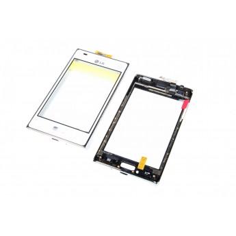 Сенсорное стекло,Тачскрин LG E610E612 White в рамке (Original)