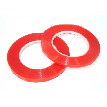Скотч двусторонний прозрачный 3M с красной защитной лентой ширина 2мм 25м